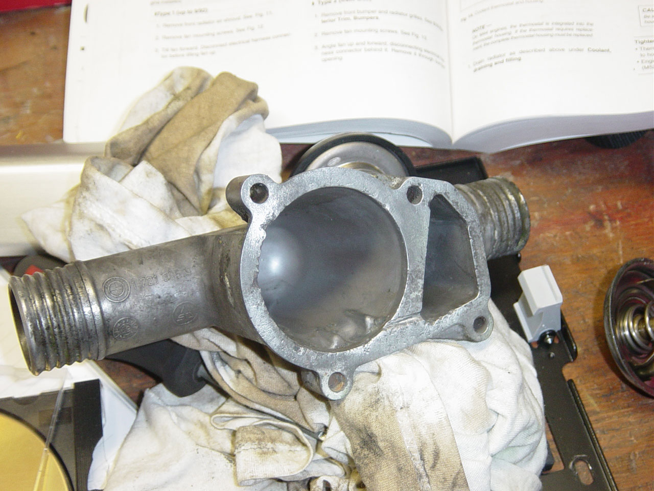 1991 Bmw 318i E30 M42 Thermostat Replacement Procedure Diy By All 95 Engine Diagram Hose Clean The Housing Surfaces So That New Seal Will Not Leak